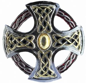 Northumberland / Northumbria Gold and Silver Cross Belt Buckle + display stand. Product Code 311 GFC